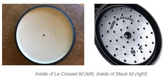 Inside of Staub and Le Creuset dutch oven lids