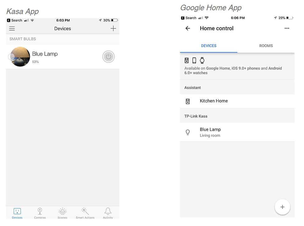 Kasa app and Google Home app