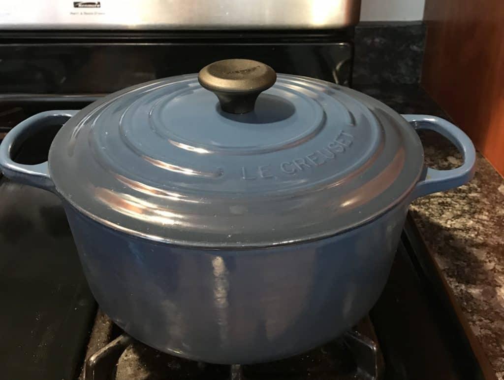 Le Creuset 5.5 quart Dutch oven on stove