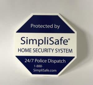 SimpliSafe lawn sign