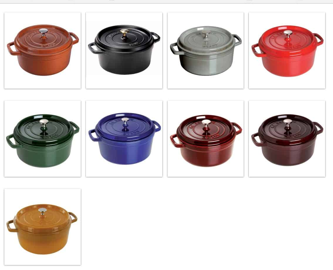 Staub Dtuch oven color options