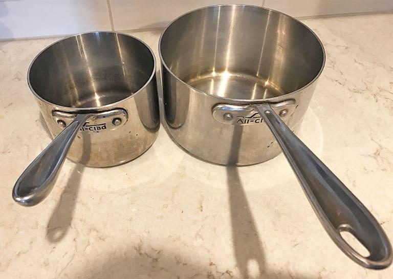 2-quart and 4-quart saucepans