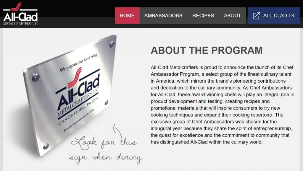 All-Clad Chef Ambassador Program