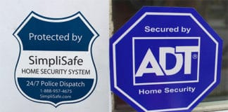 SimpliSafe and ADT stickers