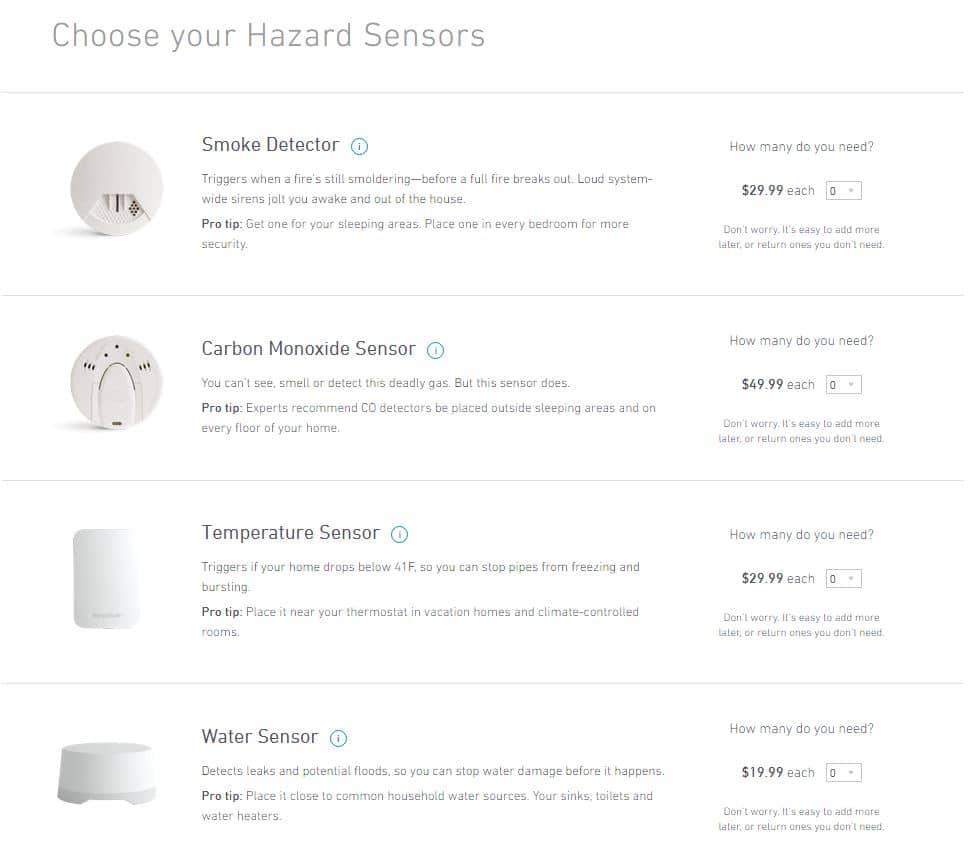 SimpliSafe hazard sensors