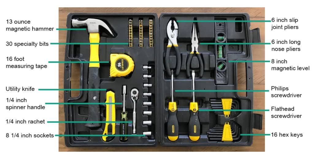 Stanley 65 piece household tool set with labels