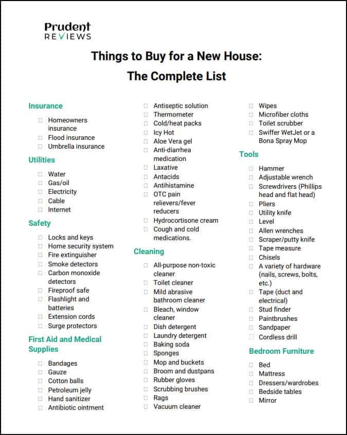 Things To Buy For A New House Essentials Checklist Prudent Reviews