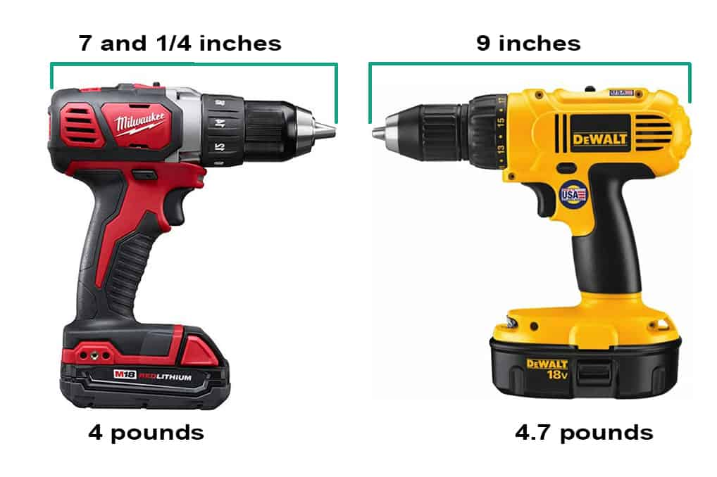 Milwaukee vs. DeWalt size and weight