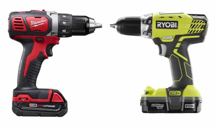 ryobi vs milwaukee cordless drills what are their differences prudent reviews. Black Bedroom Furniture Sets. Home Design Ideas