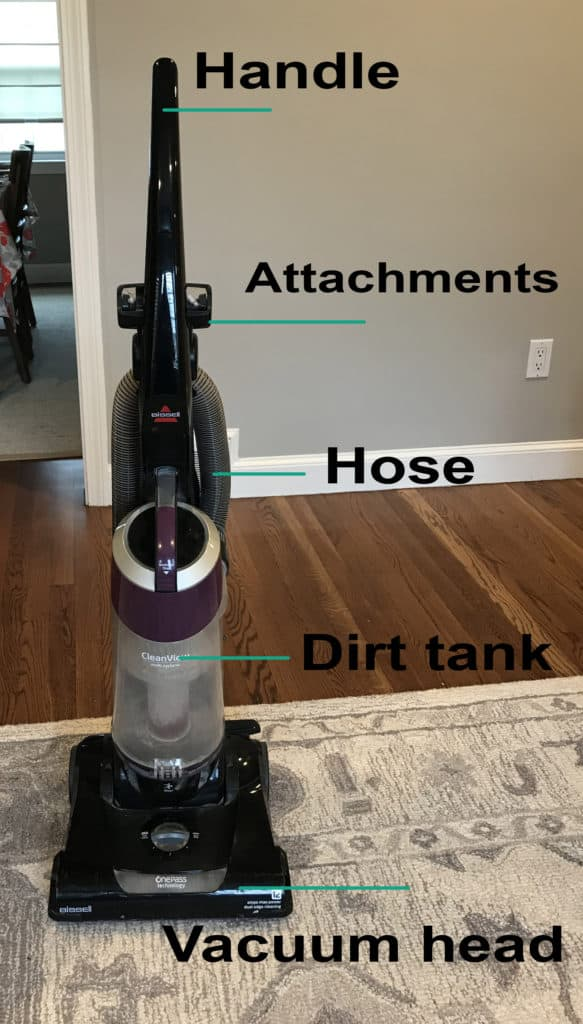 upright vacuum labeled
