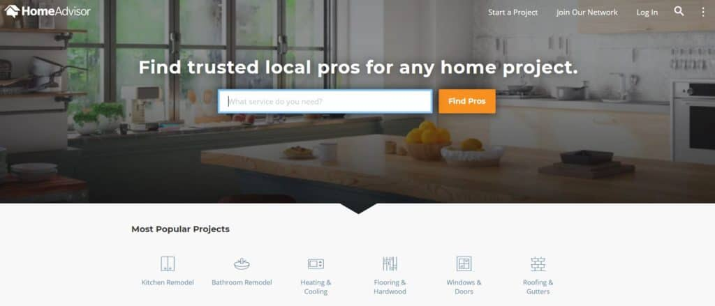 HomeAdvisor Homepage