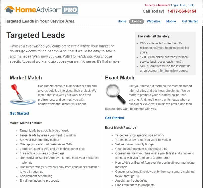 Market Match vs Exact Match HomeAdvisor Leads