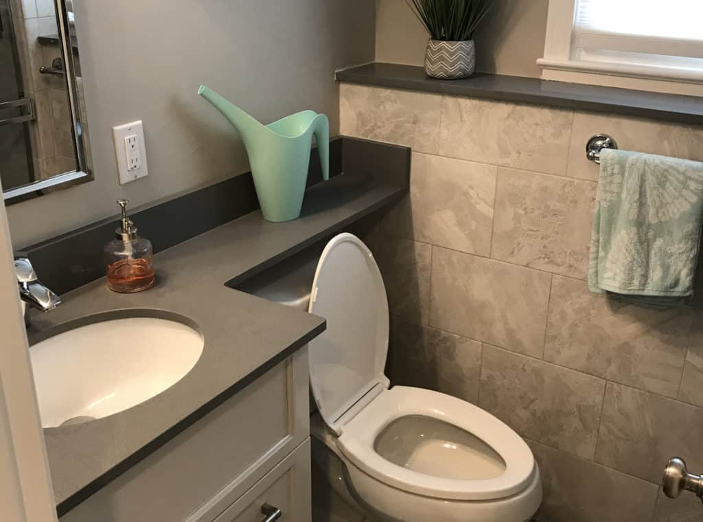 Quartz countertops in a bathroom
