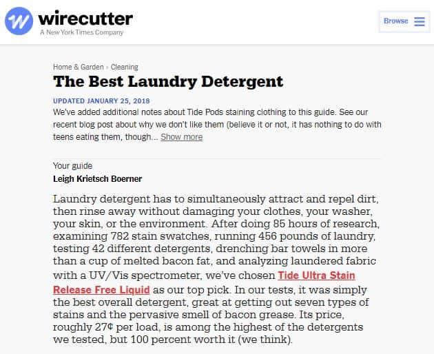 Wirecutter Laundry Detergent Study