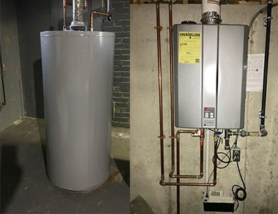 tank style vs tankless water heater
