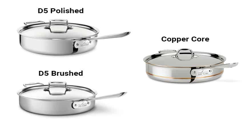 All-Clad D5 Polished vs. D5 Brushed vs. Copper Core
