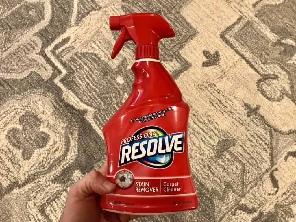 Spot treating stains on carpet with Resolve