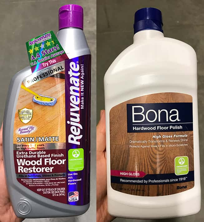 Rejuvenate vs. Bona Hardwood Floor Polish