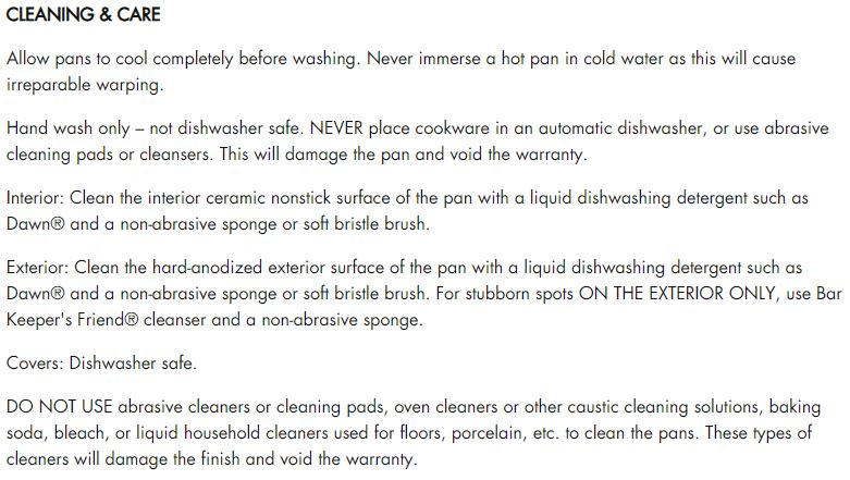Calphalon Care Instructions for Teflon Coated Cookware