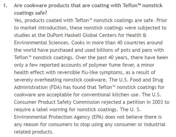 Teflon Safety FAQ on Chemours Website
