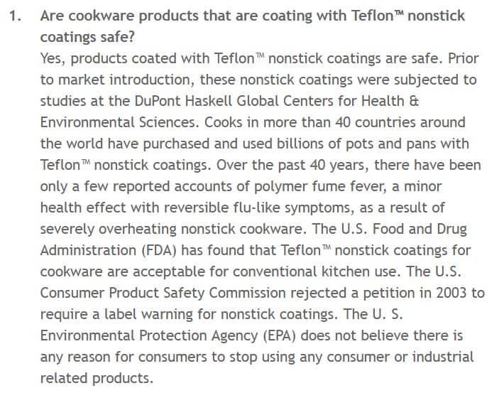 Teflon Safety FAQ on Chemours Website