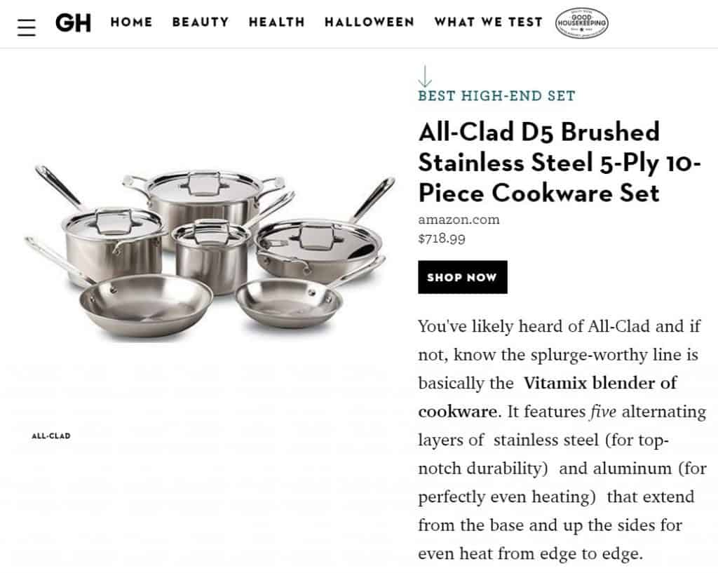 Good Housekeeping Best Cookware Sets - All-Clad