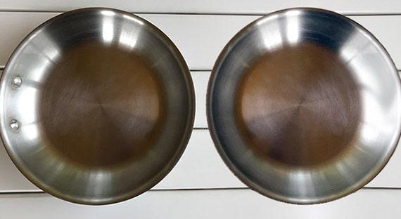 Riveted handles (left) vs. Rivetless or welded handles (right)