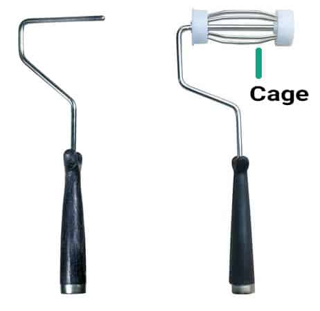 Paint roller frame without cage vs. paint roller frame with a cage