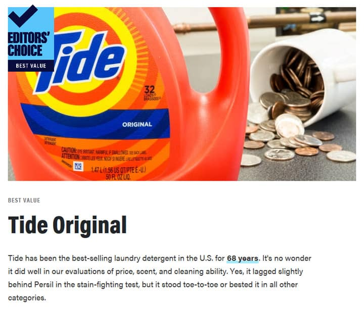 Reviewed.com Tide Original Best Value