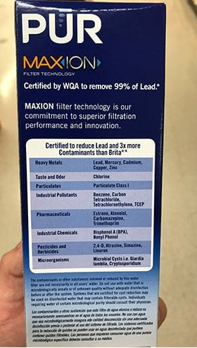 PUR Lead Reduction Filter Contaminant List
