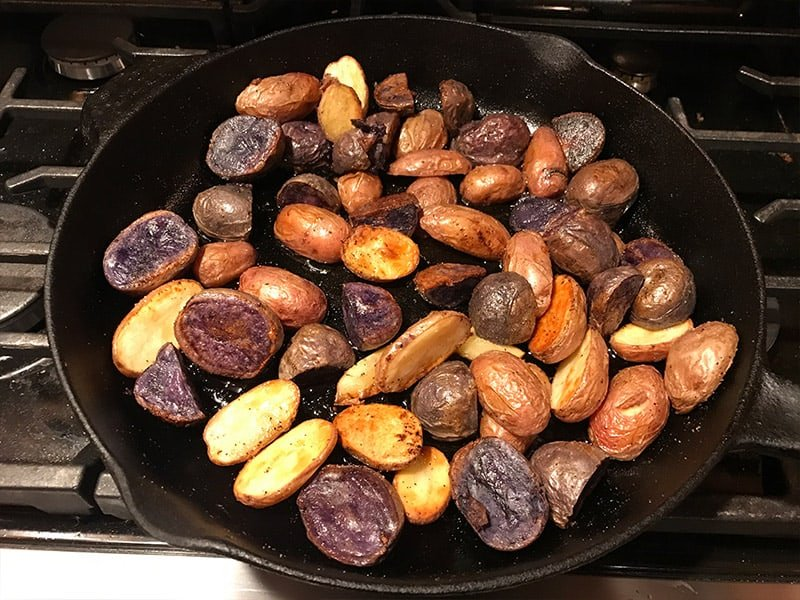 Roasted potatoes in a cast iron skillet