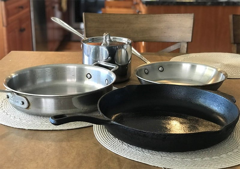 Stainless steel and cast iron cookware