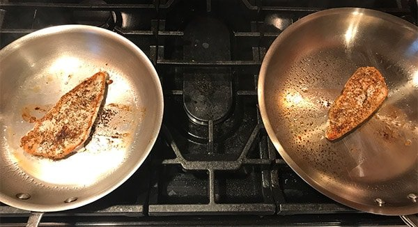 Made In vs. All-Clad cooking chicken