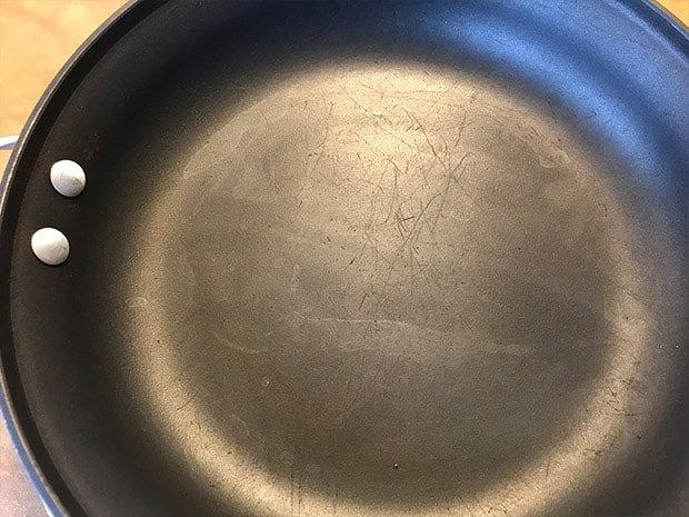 Scratched non-stick cooking surface