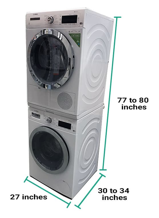 Stackable washer and dryer dimensions