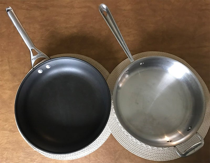 Non-stick and stainless steel pans