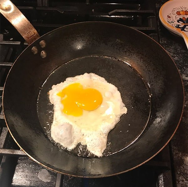 Cooking eggs in the Made In carbon steel frying pan