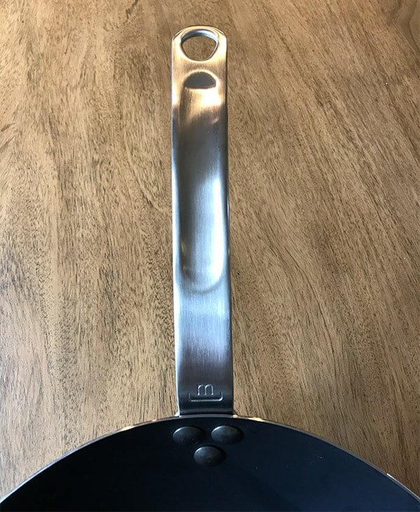 Made In carbon steel frying pan top side of handle