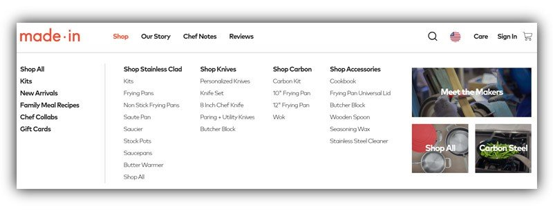 MadeInCookware.com Screenshot