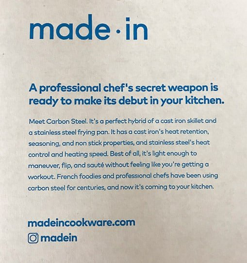 Message inside the box of Made In carbon steel frying pan