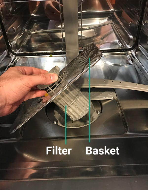 Dishwasher filter and basket