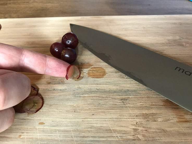 Slicing grapes paper thin with the Made In Chef Knife 2
