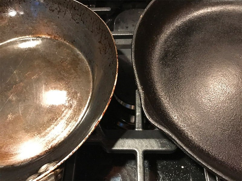 Carbon steel and cast iron pan