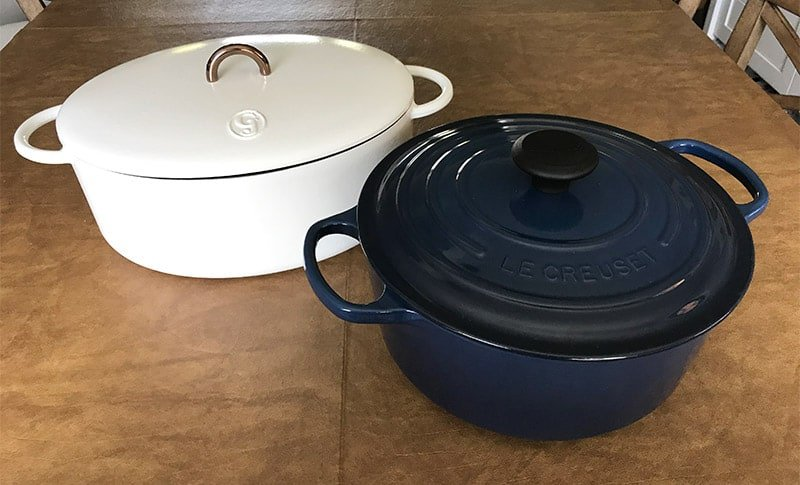 Great-Jones-oval-Dutch-oven-and-Le-Creuset-round-Dutch-oven