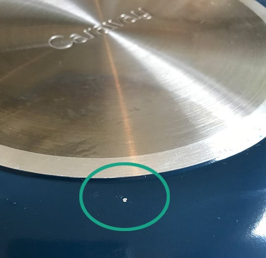 Caraway cookware exterior chip