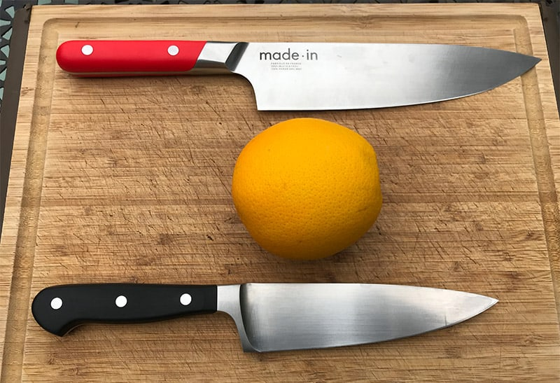 Cutting an orange with a 6 inch chefs knife