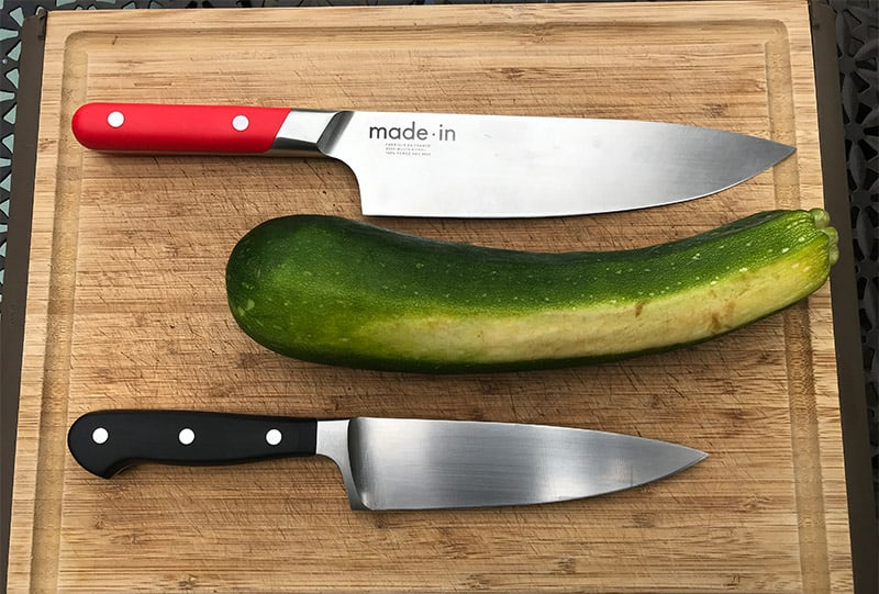 Cutting zucchini with an 8 inch chefs knife