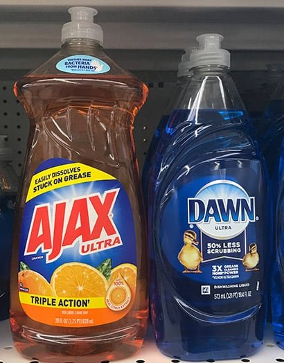 Dawn and Ajax dish soap