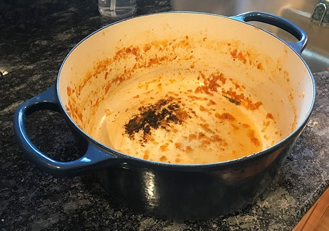 Dirty and Discolored Le Creuset enameled Dutch oven
