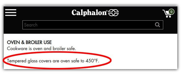 Oven safe temperature of Calphalon tempered glass lids